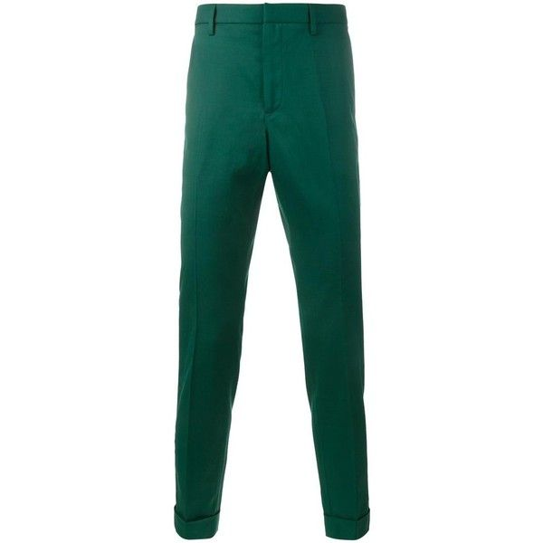 Gucci  classic tailored trousers ($495) ❤ liked on Polyvore featuring men's fashion, men's clothing, men's pants, men's dress pants, green, mens tailored pants, mens slim fit dress pants, mens slim dress pants, mens slim pants and mens green pants