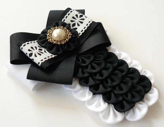Ladies fabric pin brooch tie. Black and white bow brooch by JuLVa