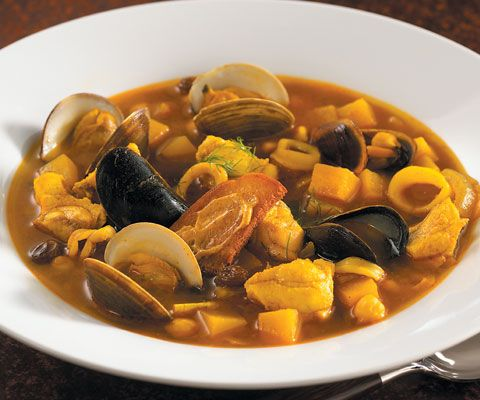 Curried New England bouillabaisse with pumpkin, chickpeas and raisins ...