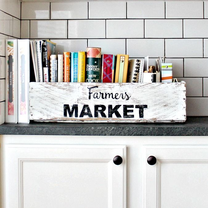 Paint a box to look old and to corral all your cookbooks in.
