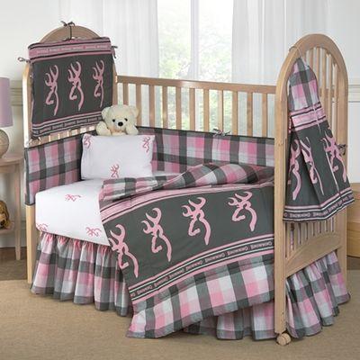 Browning Buckmark Pink Plaid 8 Piece Crib Set