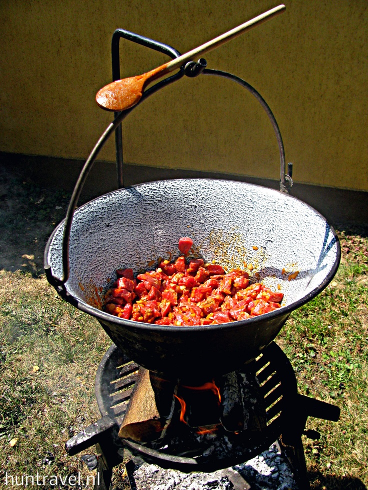 """Goulash made in traditional """"bogrács"""" above fire - Hungary"""