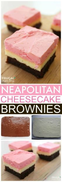 Neapolitan Cheesecake Brownies. love the classic layer of brown, white and pink to make the perfect triple layered dessert idea. Yum, chocolate, strawberry, and vanilla bars. Fun party or potluck food.