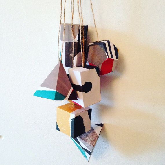 3d paper modern geometric mobile room decor by coffeeANDpaper