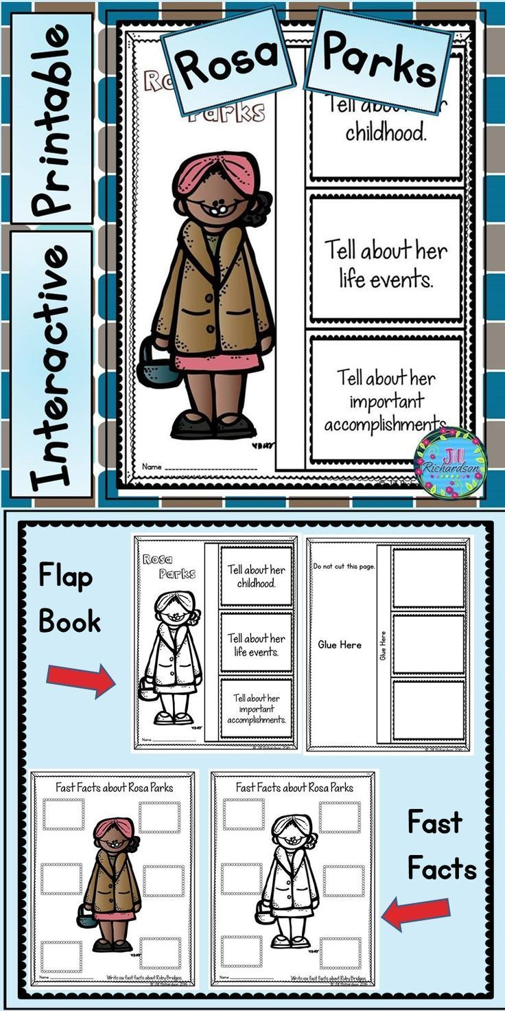 Rosa Parks Activities: Have your children research Rosa Parks. This product includes two ways for your children to share what they have learned about Rosa Parks in writing. Flap Book Printable(color and black and white) Fast Facts (color and black and white)