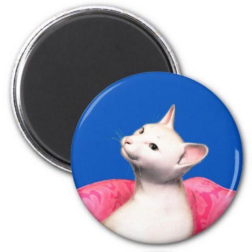 Oriental White Cat Fridge Magnets
