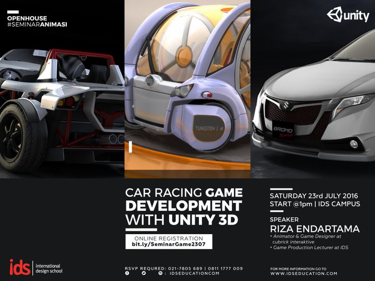 "#SeminarAnimasi ""CAR RACING GAME DEVELOPMENT WITH UNITY 3D"". Speakers: Riza Endartama (Animator & Game Designer at Cubrick Interaktive, Game Production Lecturer IDS). Sabtu, 23 Juli 2016 at IDS | International Design School Jl. Jati Murni No. 1 B Jati Padang, Pasar Minggu – Jakarta Selatan. Online Regist: bit.ly/SeminarGame2307"