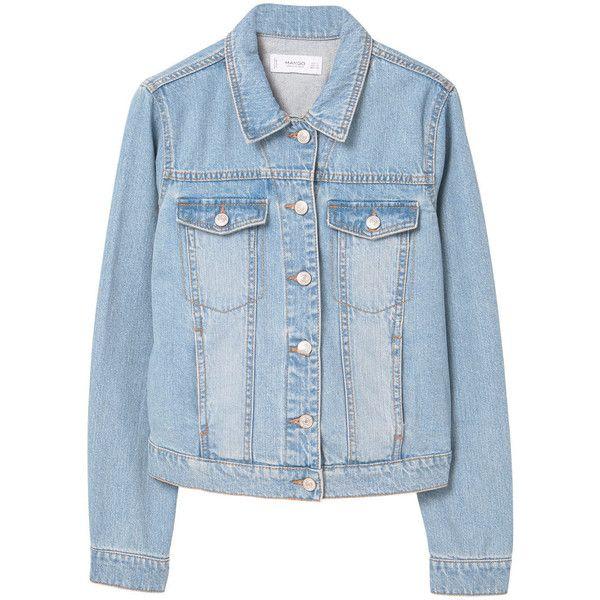 MANGO Light Wash Denim Jacket (240 PLN) ❤ liked on Polyvore featuring outerwear, jackets, collar jacket, mango jackets, embellished jacket, jean jacket and embellished denim jacket