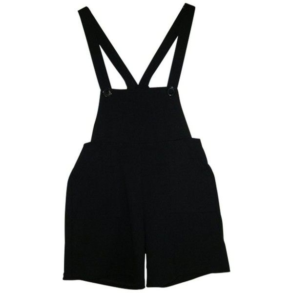 Black Shorts AMERICAN APPAREL ($38) ❤ liked on Polyvore featuring shorts, overalls, dresses, bottoms, american apparel, american apparel shorts, overalls shorts, bib overalls and american apparel overalls