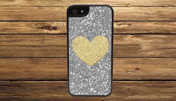 Gold Glitter Heart on Silver Glitter Background Case - iPhone 6/Plus/5/5s, iPhone 5C, iPhone 4/4s, iPod 4/5, Samsung Galaxy s3 S4 or S5