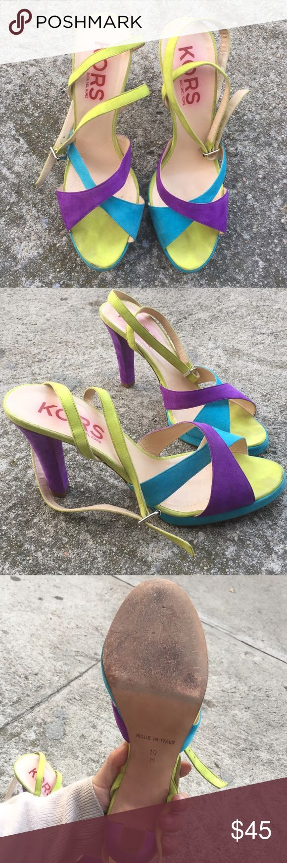 KORS Michael Kors suede purple strappy heels pumps Purple, blue, chartreuse green. Great condition. Made in Italy. See pics KORS Michael Kors Shoes Heels