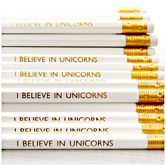 I Believe In Unicorns Pencil. Magic. Rainbow. Stationery. White. Gold. Luxe. Party Bag. Favours. Back To School. Birthday Gift Present. Kids