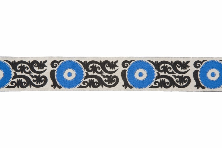"""Black/Royal Blue/Ivory Geometric French Jacquard Ribbons; Product #: 8667 Price:   $8.95/Yard This is a French jacquard ribbon with an interesting geometric/swirled pattern. Makes for a one of a kinds trim. Content: Polyester:100 Country: France Width:1 1/2'' Horizontal Repeat: 3.25"""""""