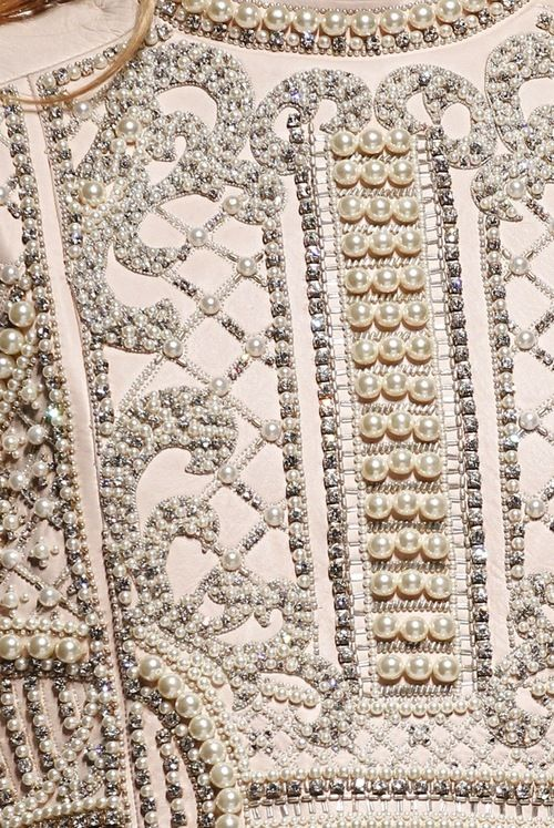 Balmain pearl encrusted detail from evening jacket