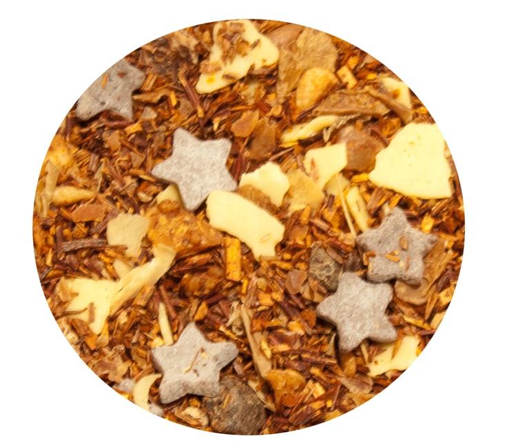 """""""Rooibos Tiramisú"""" Rooibos con chocolate negro en forma de estrellas, chocolate blanco, almendras, trozos de manzana y copos de zanahoria. 7€ / 100gr."""