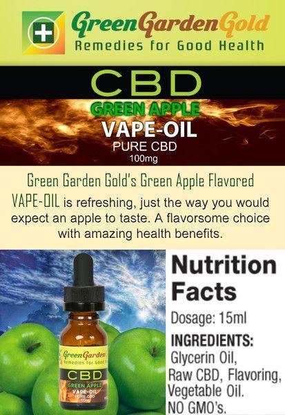 Get green apple taste from Green Garden Gold CBD Green Apple #VAPE #OIL.
