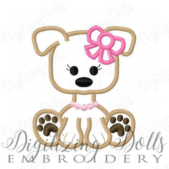 Cucciolo cane ragazza Girly Bow Applique macchina ricamo
