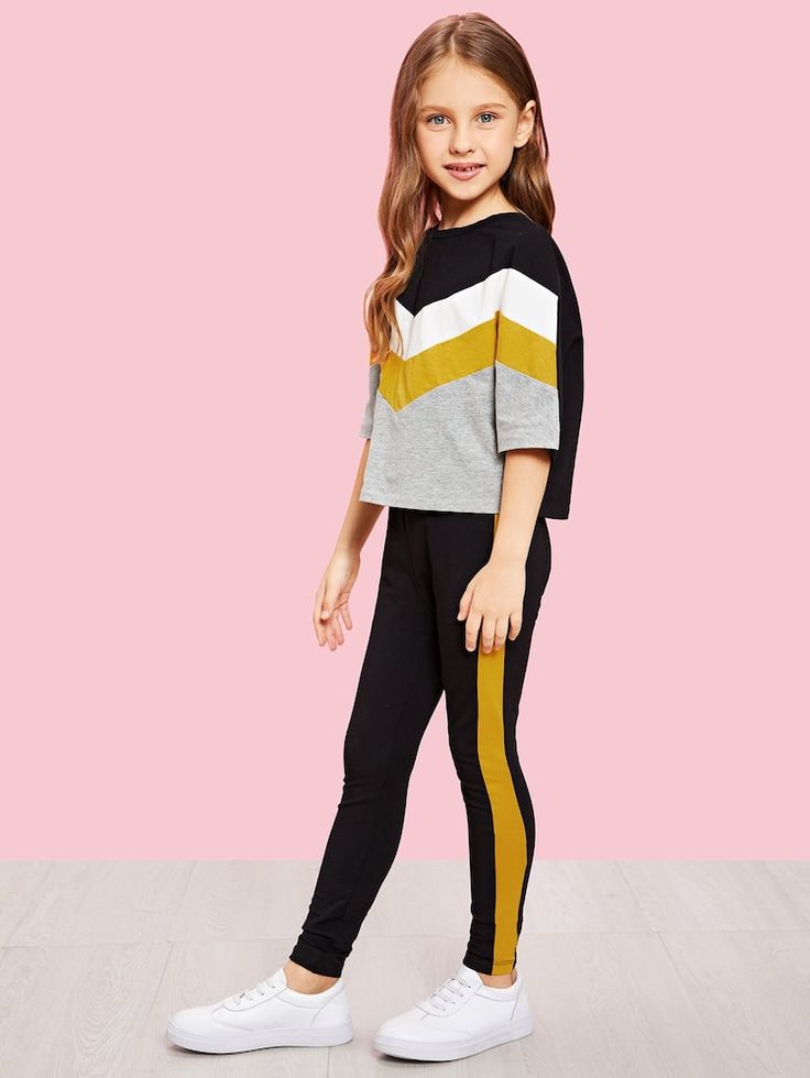 Conjunto de niñas top de color block de manga murciélago con pantalones | SHEI…