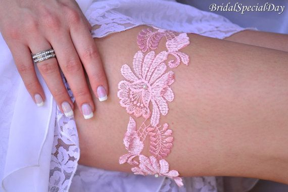 Pink Lace Wedding Garter Set Bridal Garter With Lace and Pearls - Handmade Bridal Accessory