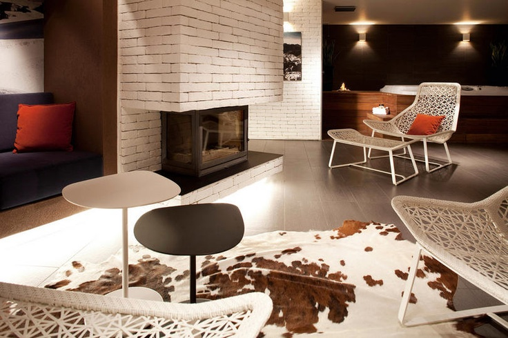 fireplace in white brick wall