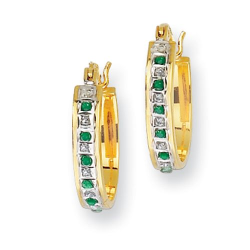 IceCarats Sterling Silver & Gold-plated Diamond and Emerald Oval Hinged Hoop Earrings   May Birthstone   Gift   Birthday   Accessories   #IceCarats   See More - www.IceCarats.com