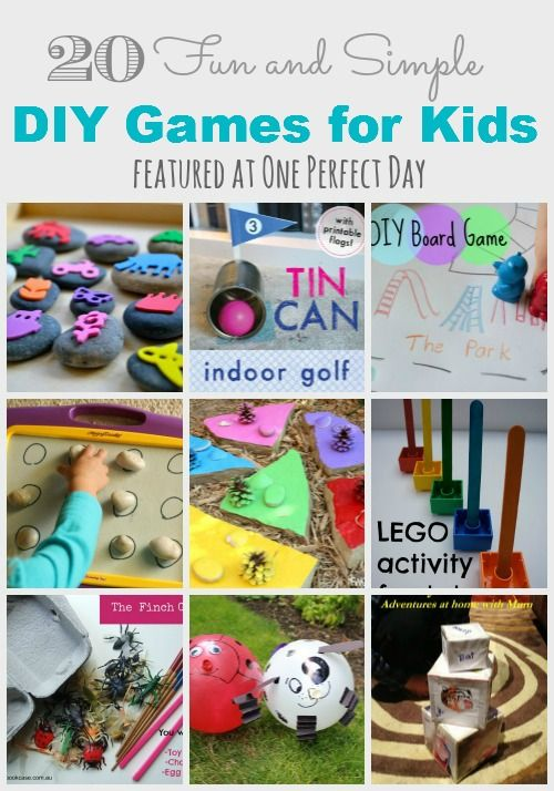 Lots of fun and simple DIY games that can be made from household items and will keep kids happy for hours. (These are great for parties and holidays too!)