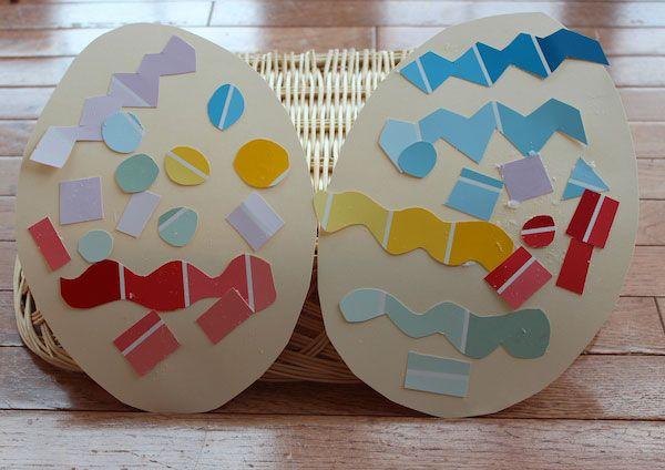 Uova di Pasqua decorate con ritagli di cartoncino