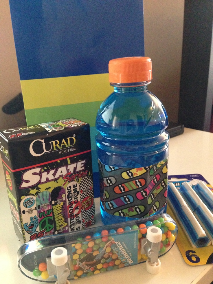 Skateboard Party Favor Sports Drink With Skateboard Theme