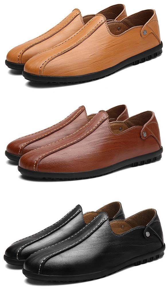 Genuine Leather Loafer Slip On Moccasins Casual Shoes For Men