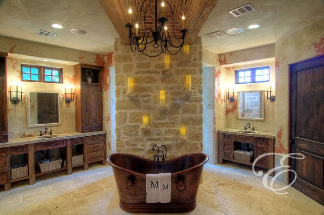 Farmhouse interiors farmhouse mediterranean for Bathroom decor houston