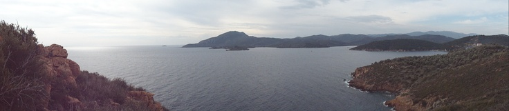 The mouth of Kolpos Geras from atop the Mati