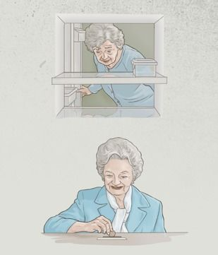 Una hermana mayor mira en su refrigerador casi vacío, pero después hace un donativo para la obra del Reino