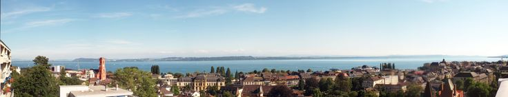 """Neuchatel, Switzerland, taken in August 2013. This is a stitched panorama, taken from the hotel """"Alpes et Lac"""" opposite the railway station."""