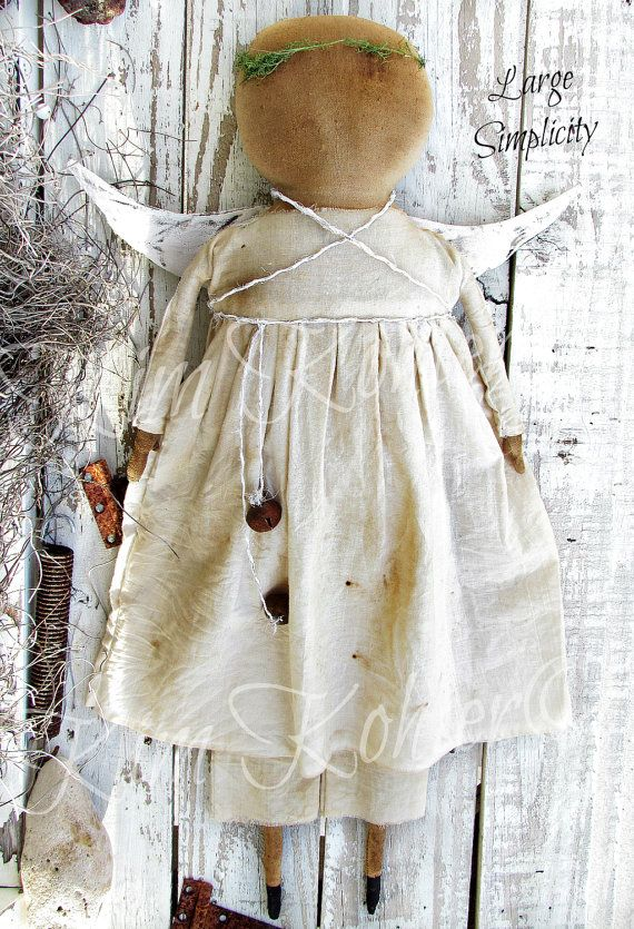 Large Simple Prim Angel Doll 24 Folk Art by VeenasMercantile