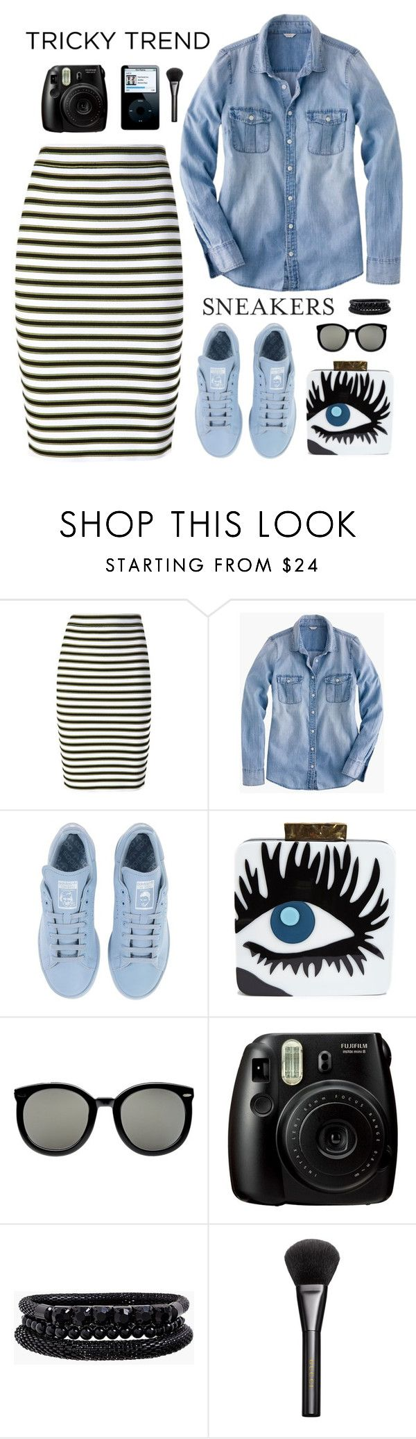 """""""Tricky trend: pencil skirt and sneakers"""" by ellyg91 ❤ liked on Polyvore featuring A.L.C., J.Crew, adidas, Jarre, Karen Walker, Spring Street, Gucci, pencilskirt, contestentry and polyvoreeditorial"""