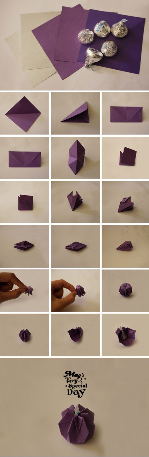 DIY Origami Kisses chocolate for Dessert bar or Valentine's day
