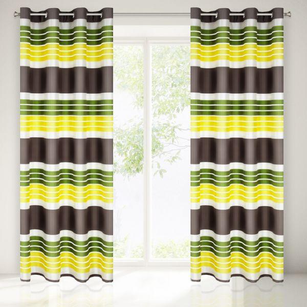 Moderné dekoračné závesy zeleno hnedej farby do spálne
