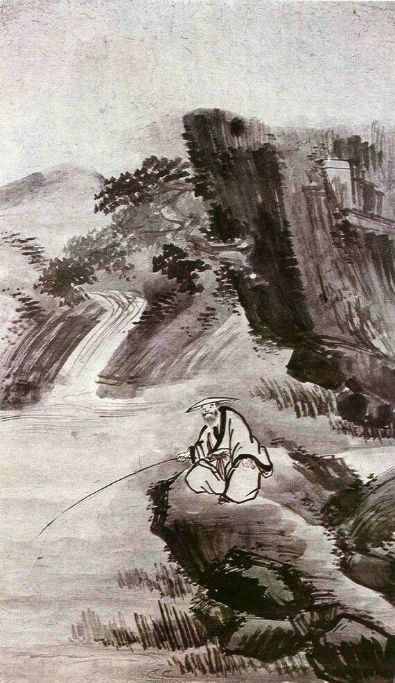 (Korea) 한암조어 by Gyeomjae Jeong Seon (1676- 1759). ca 18th century CE. ink on paper. Joseon Kingdom, Korea. 117.2 ×70.3cm. National Museum of Korea.