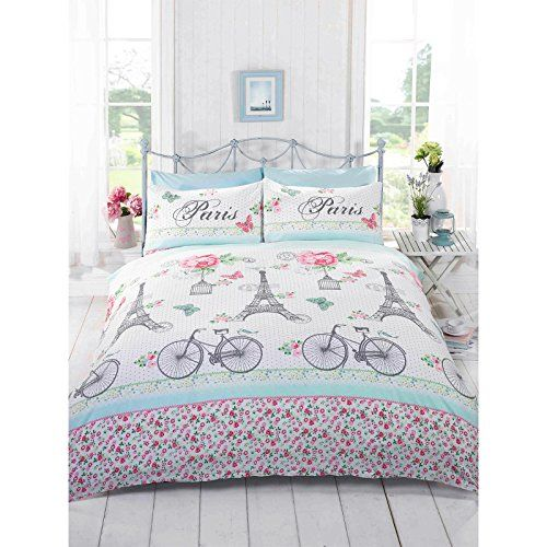 Just Contempo Single Cotton Blend FRENCH CHIC PARIS DUVET COVER - Girls White Green Duck Egg Blue Pink Bedding Set, Pink Just Contempo http://www.amazon.co.uk/dp/B00LI0SWXI/ref=cm_sw_r_pi_dp_ICR6vb1YJJAPY