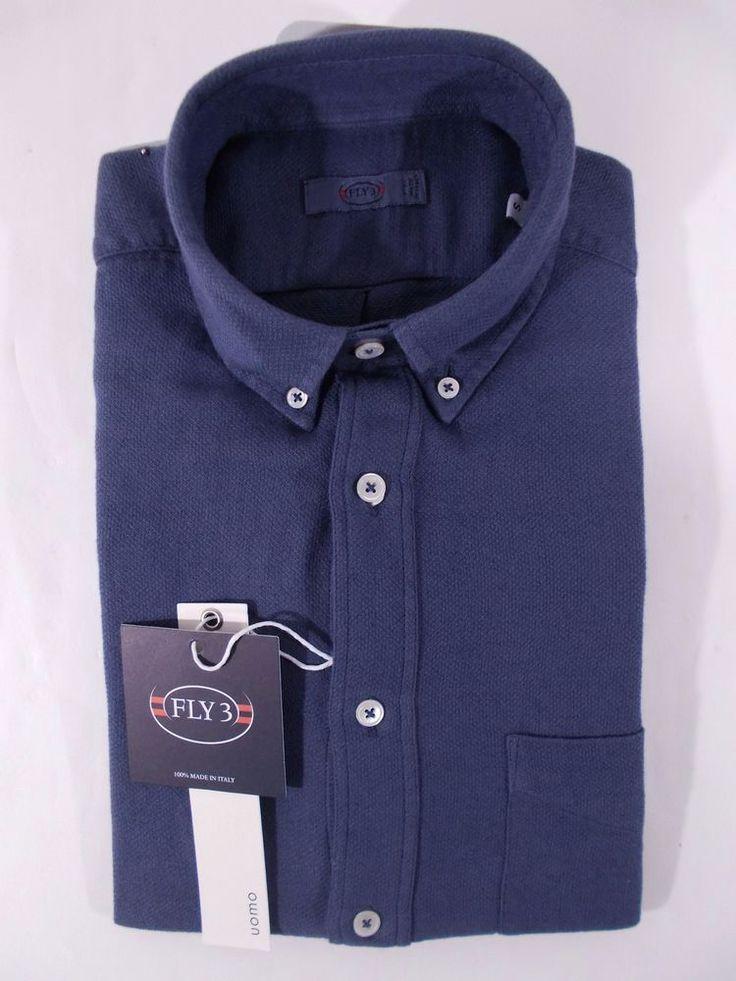 NWT FLY3 camicia uomo CASUAL cotone cashmere bamboo BLU A/I tg. S-M-XL-XXL-3XL