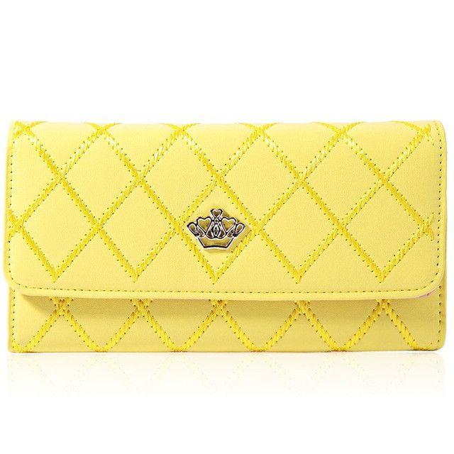 Guapabien Female Long Clutch Wallet Women Wristlet Crown Wallets PU Leather Credit Card Ladies Purse For Women Carteras