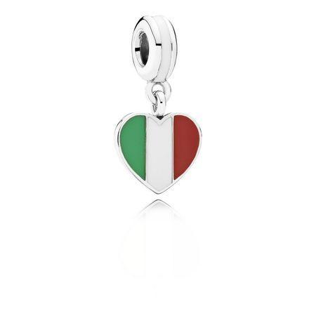 Italy Heart Flag, Green, White & Red Enamel | PANDORA Jewell