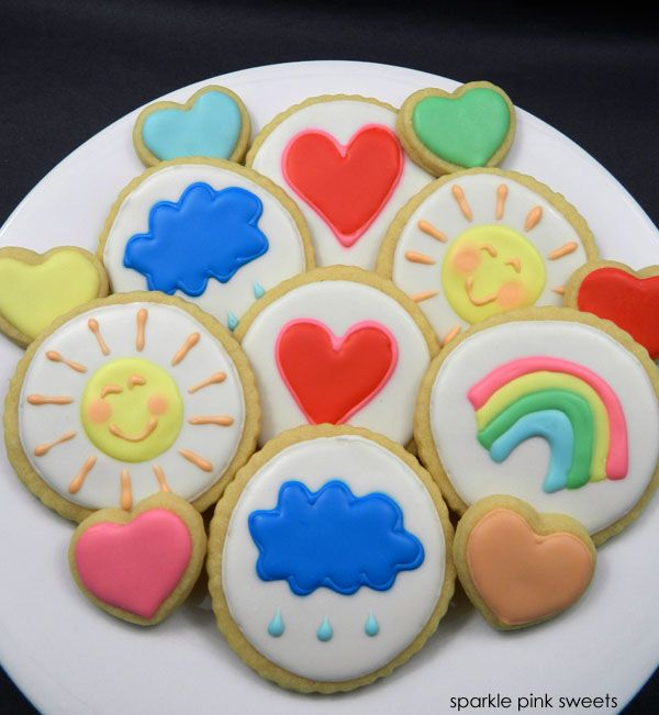 Care Bear Belly Badge and Mini Heart Cookies | Sparkle Pink Sweets
