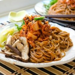 A healthy soba noodle dish with Korean Kimchi and other refreshing veggies: Korean Food, Bibim Soba, Asian Dishes, Kimchi Bibim, Korean Kimchi, Chinese Asian Food, Kimchi Soba, Healthy Recipes Food, Asian Inspiration Dishes