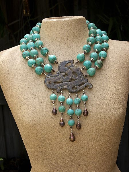 Necklace | Katie O Designs. 'Dragon Lair'.  Hand carved serpentine pendant combined with Chinese turquoise and bronze baroque fresh water pearls