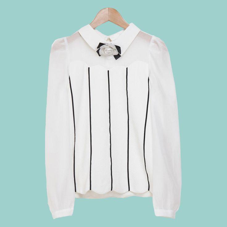 LOYCA Mulheres Peter Pan Colarinho Branco de Chiffon Camisas Blusa Feminina Blusa 2016 Novas Mulheres Primavera Listrado Tops Camisas Chemise Femme em Blusas & Camisas de Das mulheres Roupas & Acessórios no AliExpress.com | Alibaba Group