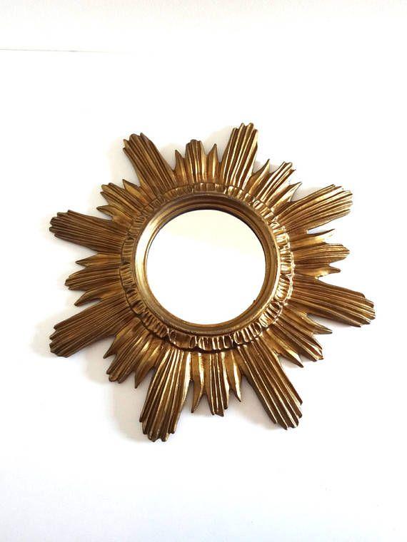 Mid Century Golden Sun Mirror Made in Italy  Vintage 1950s