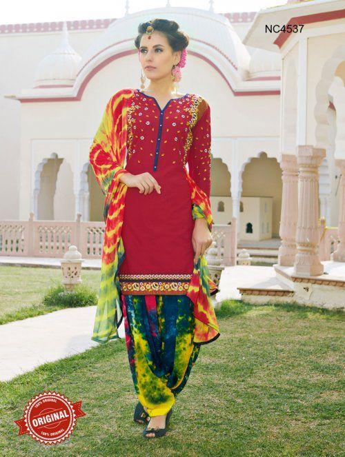 Red & Blue Semi Cotton Patiala Suit