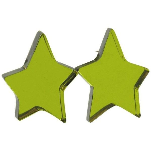 Preowned Oversized Olive Green Lucite Star Clip Earrings By Harriet... ($255) ❤ liked on Polyvore featuring jewelry, earrings, green, 80s jewelry, 80s clip on earrings, clear earrings, clear lucite earrings and green earrings