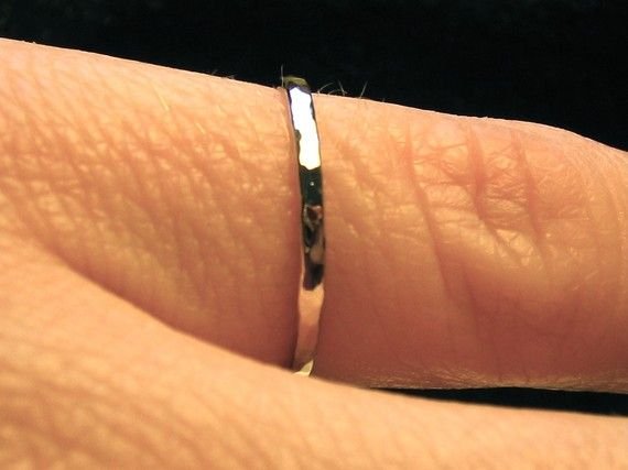 thin White gold Wedding band solid 14k handmade by RainaLeeStudios, $159.00